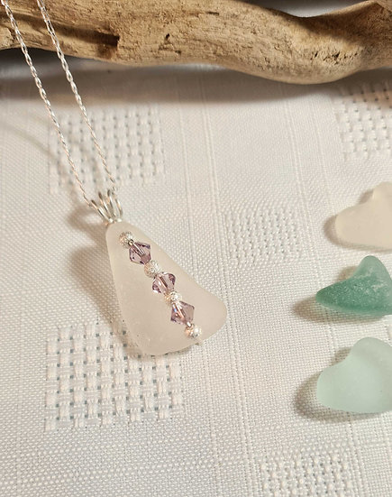 White Sea Glass & Pink Crystal bead Necklace