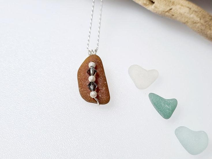 Brown Sea Glass & Swarovski Crystal Necklace