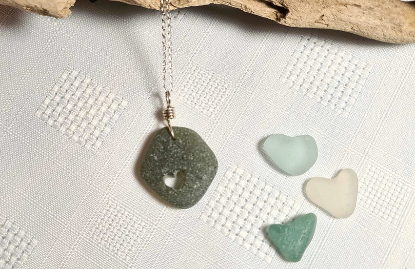 Green Sea Glass Heart Carved Necklace