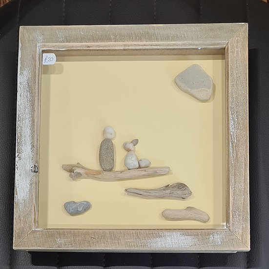 Single Person and Dog - Pebble Art Picture