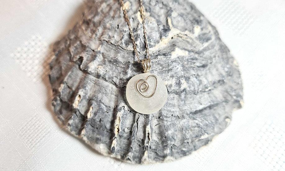 White Sea Glass Heart Design Bracelet