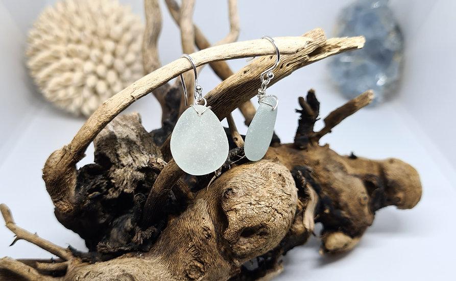 Aqua Sea Glass Silver Earrings