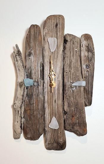 Textured Sea Glass Driftwood Clock