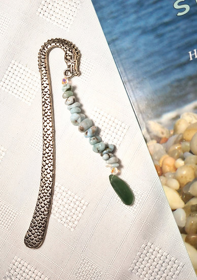 Sea Serpent Bookmark with Green Sea Glass