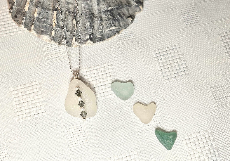 White Sea Glass & Crystal Silver Necklace