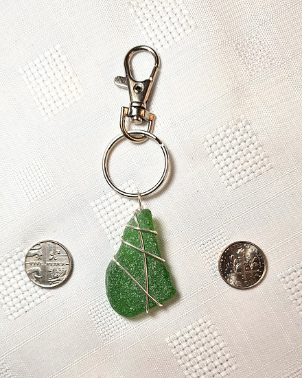 Green Sea Glass Keyring (medium)