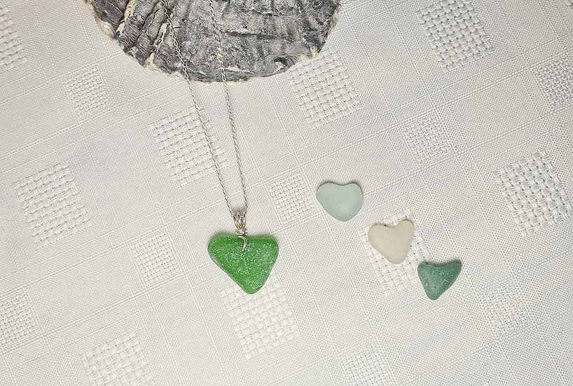Green Natural Heart Sea Glass Necklace