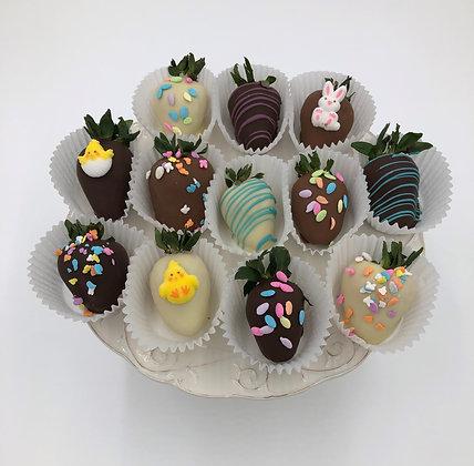 Spring Chocolate Covered Strawberries - 1 dozen