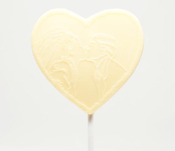 Couple Kiss White Chocolate Heart Lollipop