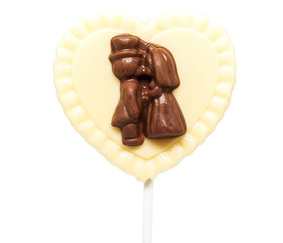 Cute Couple White Chocolate Heart Lollipop