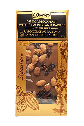 Milk Couverture Chocolate with Almonds and Raisins, 100g