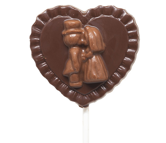 Cute Couple Dark Chocolate Heart Lollipop