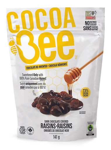 CocoaBee-Drk Chocolate Raisins-141g Bag.