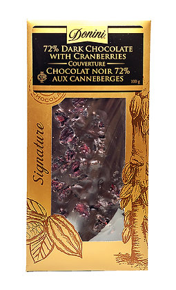 72% Dark Couverture Chocolate with Cranberries, 100g