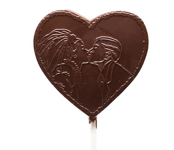 Couple Kiss Dark Chocolate Heart Lollipop