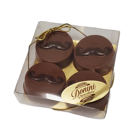 Chocolate Covered Moustache Cookies - 4pc