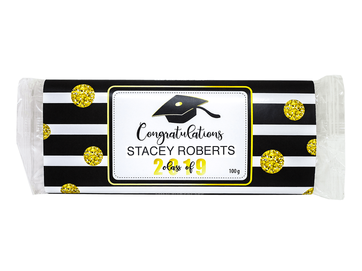 Customized Congratulations in Black Stripes