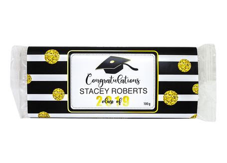 Customized Congratulations in Black Stripes