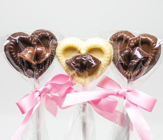 Heart Wedding Bells Chocolate Lollipops
