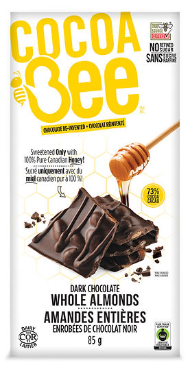 CocoaBee-Drk-Choc-Whole Almonds-85g Bar.