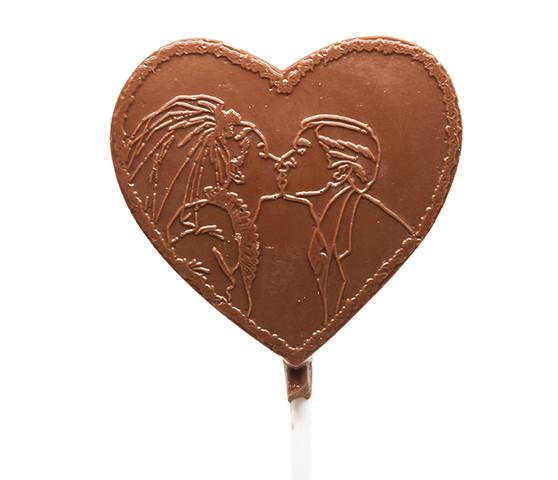 Couple Kiss Milk Chocolate Heart Lollipop