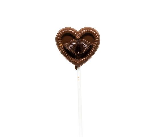 Heart Wedding Bells Milk Chocolate Lollipop