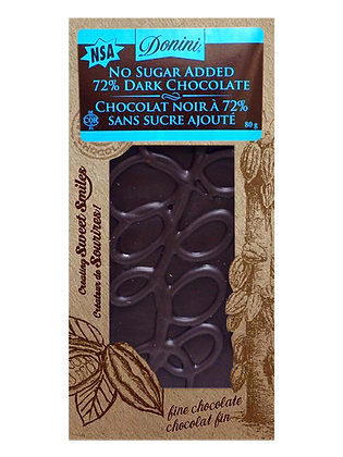 No Sugar Added 72% Dark Chocolate, 80g