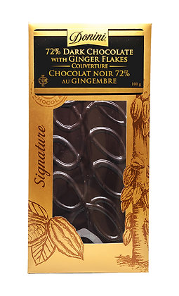 72% Couverture Dark Chocolate with Ginger Flakes, 100g