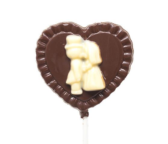 Cute Couple Dark Chocolate Lollipop