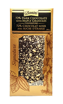 72% Dark Couverture Chocolate with Maple Granules, 100g