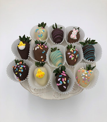 Spring Chocolate Covered Strawberries - 1/2 dozen