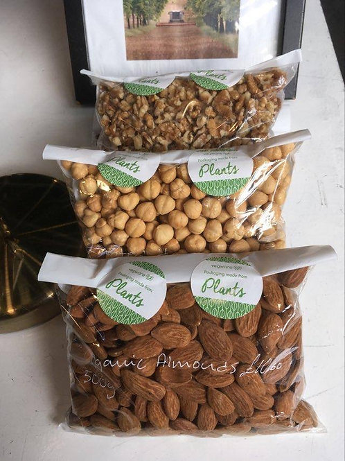 3 x 325g Bags: Organic Almonds - French Walnuts - Italian Toasted Hazelnuts