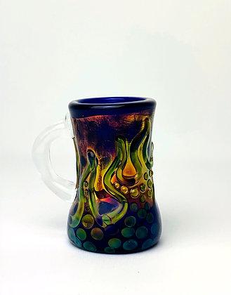 Cobalt Flames Espresso Glass