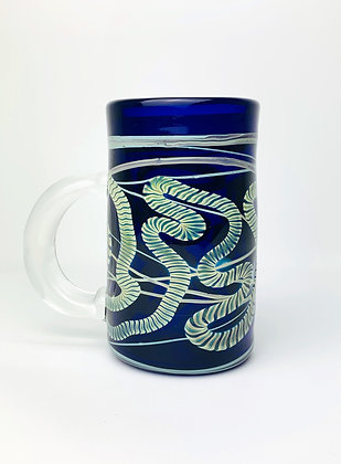Fumed Latticinio Cobalt Mug