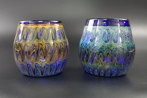 Stemless Cobalt & Fume Glass