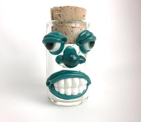 Teal Face Jar