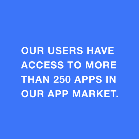 Our users have access to more than 250 Apps in our App Market.