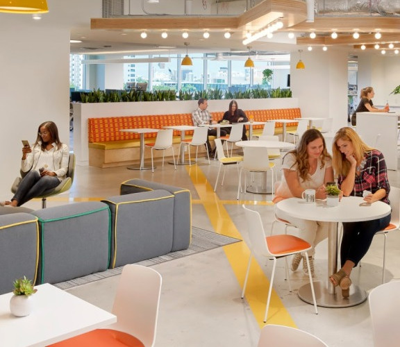 Wix employees sitting together at the Wix Miami office kitchen