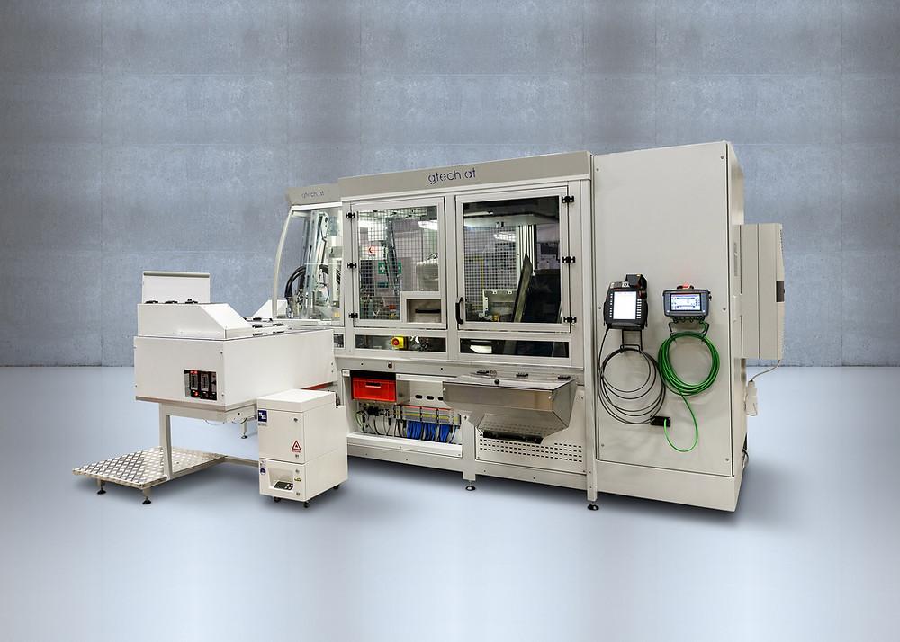 Rundtaktmontageanlage für LIMOT die vollautomatisch montiert, beschriftet, prüft und misst.