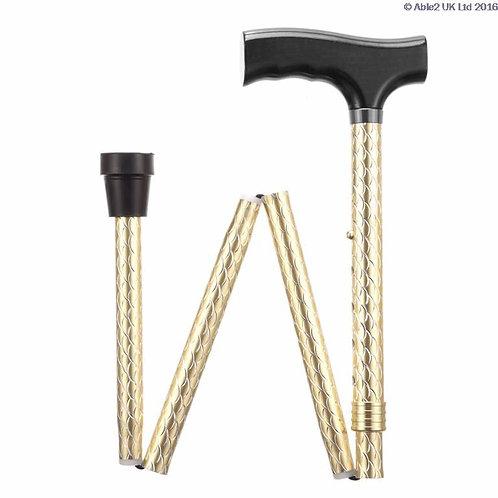Folding Adjustable Walking Sticks - Etched Gold  VAT EXEMPT