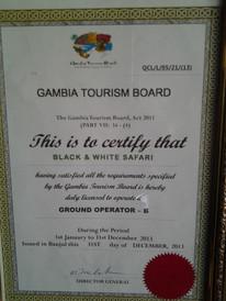Gambia Tourist Board Certificate