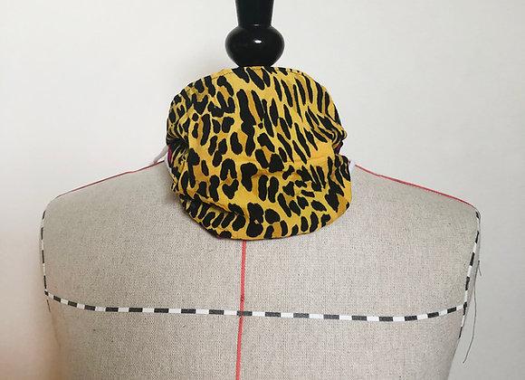 Masque imprimé léopard rose/jaune