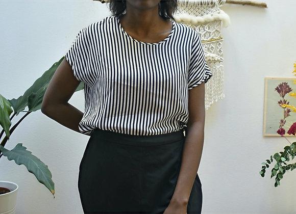 T-shirt ligné noir et blanc