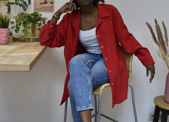 Veste chemise rouge à bouton dans le dos