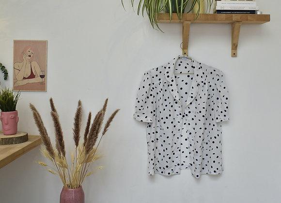 Chemise blanche à pois noir