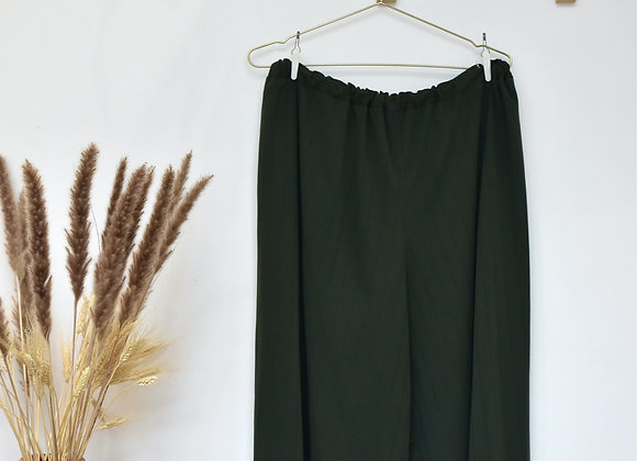 Pantalon vert foncé ligné