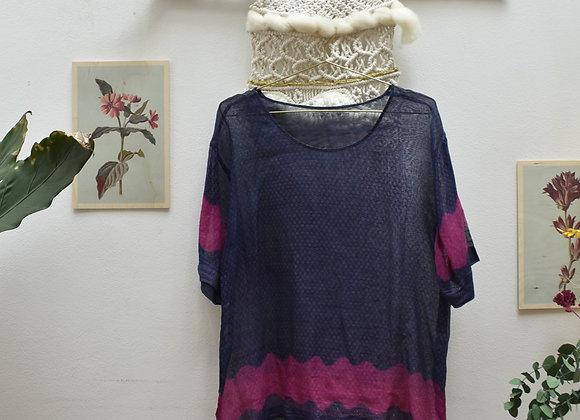 T-shirt bleu et rose