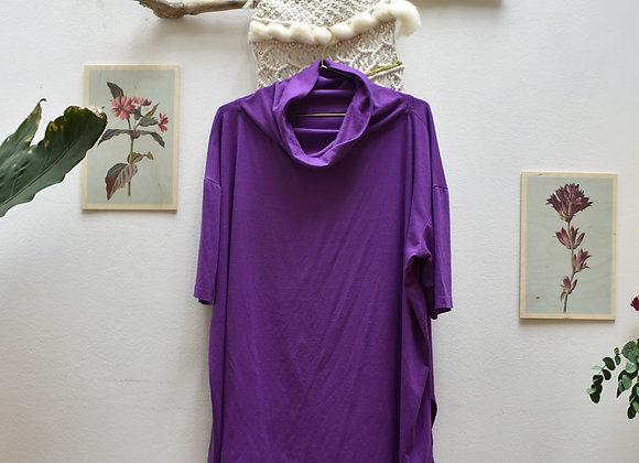 T-shirt mauve col roulé
