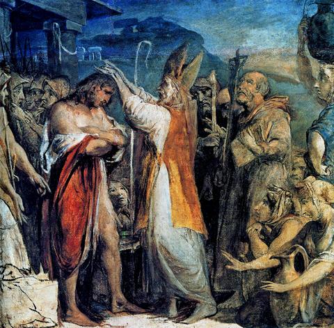 Bautizo del rey de Munster por San Patricio