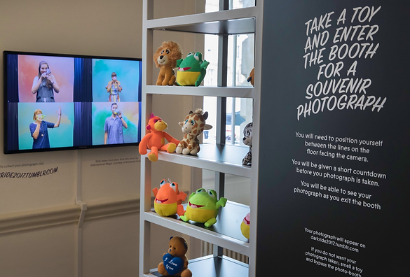 Perfumed toy objects and photo-booth at Somerset House Londo